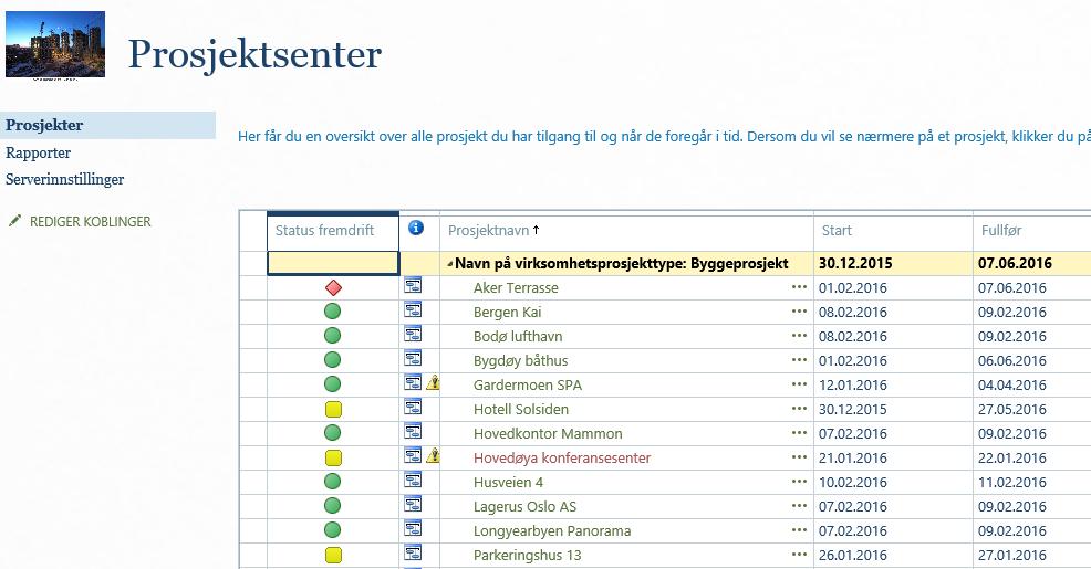 Prosjektsenter Bygg Project Online