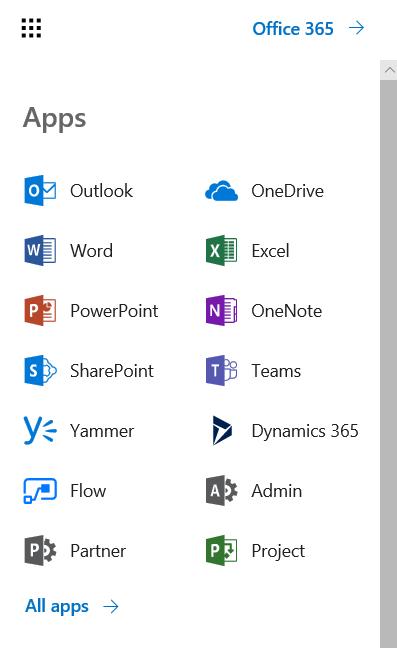 Office 365 meny