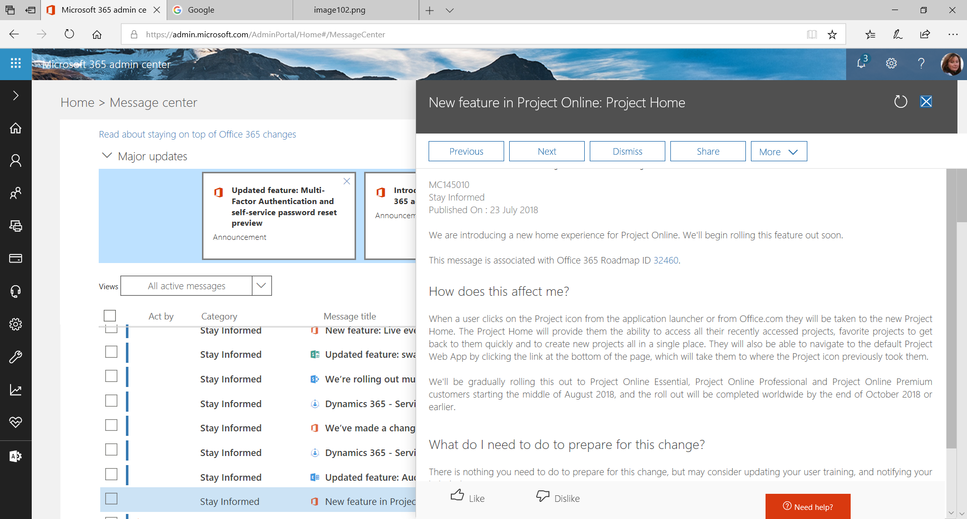 Office365 message center