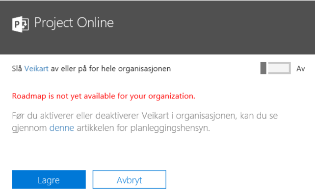 Office 365 Project Roadmap not available